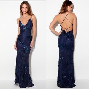 Lulus Valhalla Navy Blue Sequin Lace-Up Maxi Dress